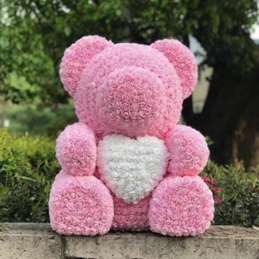"BELLA BEAR WITH HEART IN THE MIDDLE 27"" TALL  Teddy Rose Bear"