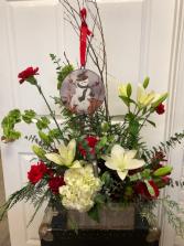 Bells, Balls, & Mistletoe Floral Arrangement