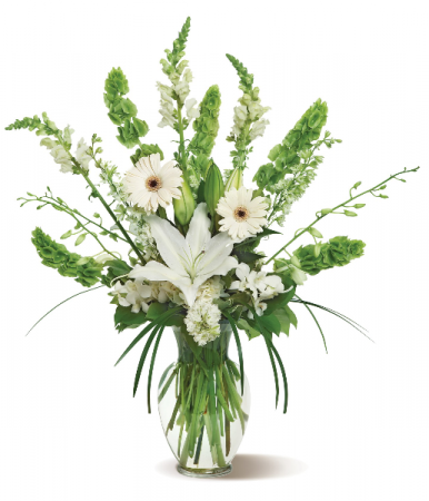 Bells & Smiles Floral Arrangment with White Orchids