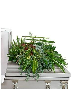 Beloved Botanics Casket Spray Sympathy in Nevada, IA | Flower Bed