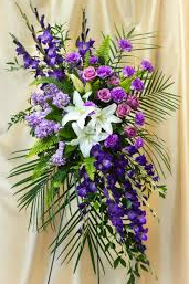 BELOVED PURPLE & WHITE LILLY SPRAY STANDING FUNERAL PC