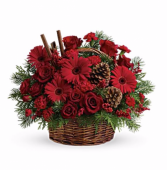 All reds and roses Basket Arrangement