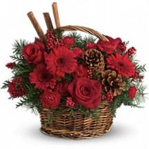 Rustic Basket Holiday Bouquet in Whitesboro, NY | KOWALSKI FLOWERS INC.