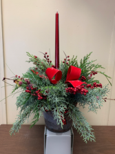 Berry Christmas  Centerpiece with fresh greenery and berries