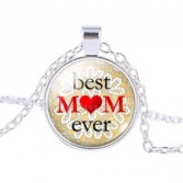 Best Mom Ever #32 18 inch silver plated necklace