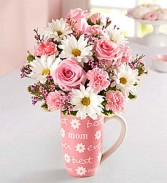 Best Mom Mug Arrangment Pink roses, daisies, carnations