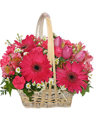 Best Wishes Basket of Fresh Flowers in Carlsbad, CA | VICKY'S FLORAL DESIGN