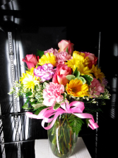 Best Wishes   Bright Mixed Bouquet In Glass Vase