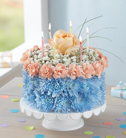 Best Wishes Flower Cake - Coastal 3D Birthday