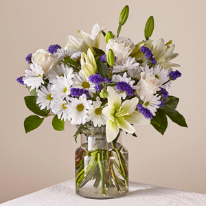 Beyond Blue Arrangement Beautiful Fresh Blue and White Blooms