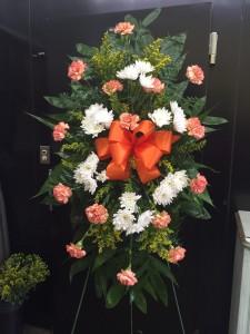 BF Carnation/ Mum Spray Orange Funeral Flower