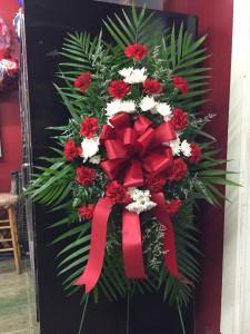 BF Carnation/ Mum Spray Red Funeral flower