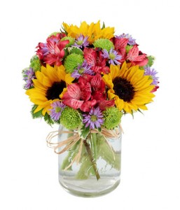 BF375-11KM Flower Fields Mason Jar Flower Arrangement