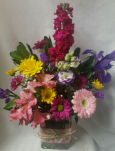 """SUMMER DELIGHT"" Seasonal bright flowers arranged in a rectangular vase with cute ribbon detail!"