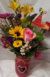 Birthday Heart Mason Jar Bouquet...seasonal Mixed flowers in a heart mason jar with a Birthday pic!