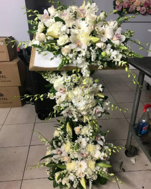 Bible Funeral Flower Arrangement Custom Funeral Flowers in Bronx, NY | Bella's Flower Shop