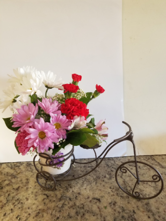Bicycle planter  Fresh cut flowers