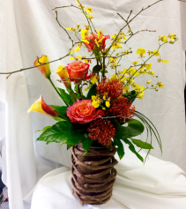 Big Bashful Bamboo Vase Fresh Floral Design
