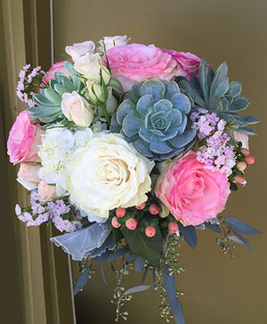 Big & Bold Pastels Bouquet with Succulents in Ozone Park, NY | Heavenly Florist