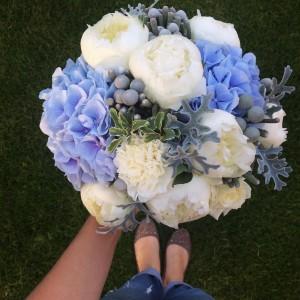 Big classic white blue bouquet  Wedding