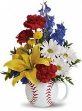 Big Hit by TF Fresh Cut Seasonal Flowers in a baseball mug