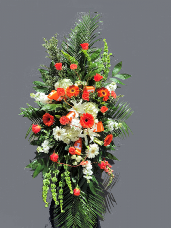 Big Orange Standing Spray Powell Florist Featured Arrangement