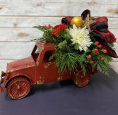 Big Red Christmas Truck Arrangement