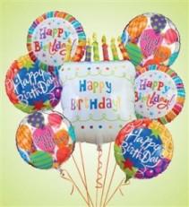 Big White Birthday Cake Mylar Bundle Birthday
