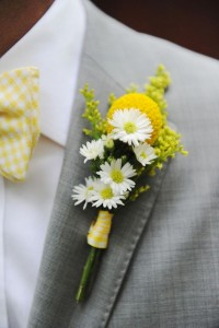 Billy Ball Boutonniere  with filler flower and ribbon tie