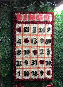 Bingo- Custom Funeral Flower Arrangement Custom Funeral Flowers -Bingo