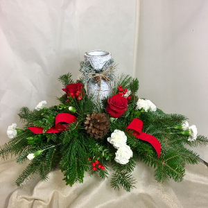 Birch-bark Candle and Pines Fresh Centerpiece in White Oak, PA | Breitinger's Flowers & Gifts