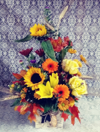 Birch Block Fall Floral Design