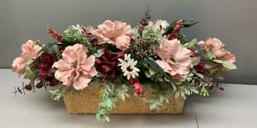 Birch centerpiece with pink, burgundy and white Silk Arrangement (ARTIFICIAL)