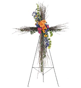 Birch Compassion Cross Funeral Design in Presque Isle, ME | COOK FLORIST, INC.