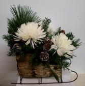 Birch Sleigh Fresh flower arrangement