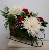 Birch Sleigh with red and white Fresh flower arrangement