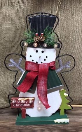 Light up snowman Wooden/metal