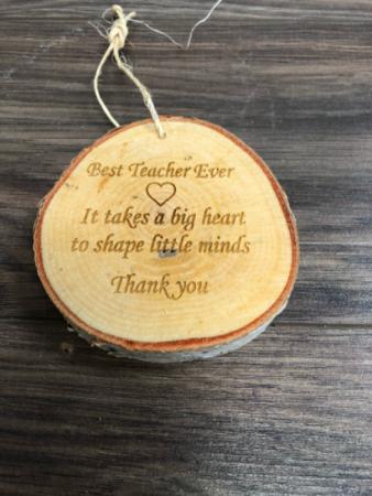 Birch slice teacher gift Engraved especially for you