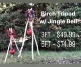 Birch Tripods with Metal Jingle Bells