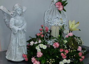 Bird Cage w/ candle Funeral in Williston, ND | Shepherds Garden Floral