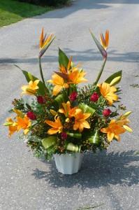 Bird Of Paradise & Lily Arrangement Shown at $120.00 in Mechanicsburg, PA | Garden Bouquet