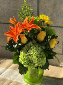 Bird Song Floral Arrangement Fresh cut flowers in reusable latern