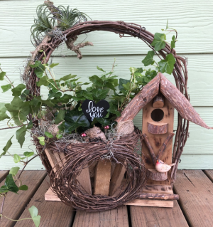Birdhouse Basket with Love.  in Pensacola, FL | JUST JUDY'S FLOWERS, LOCAL ART & GIFTS