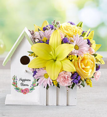Birdhouse Blooms Easter Arrangement