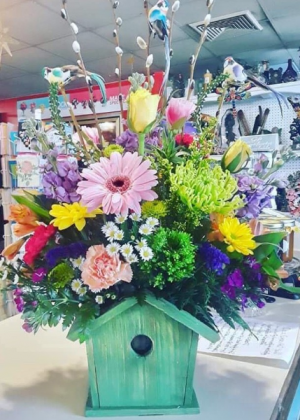 Bird house for Mom mixed spring flowers  in Whiting, NJ | A Whiting Flower Shoppe