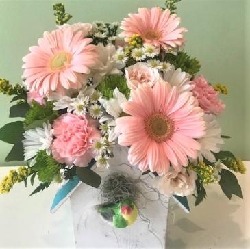 Birdhouse Bouquet Fresh Arrangement