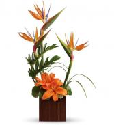 Birds and lilies flower arrangement