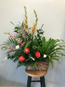 Birds Nest Fern with Floral Funeral Basket