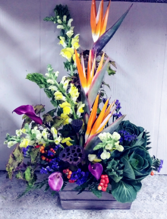 Birds of Paradise, Calla Lilies & Snapdragons in Rustic Wooden Crate