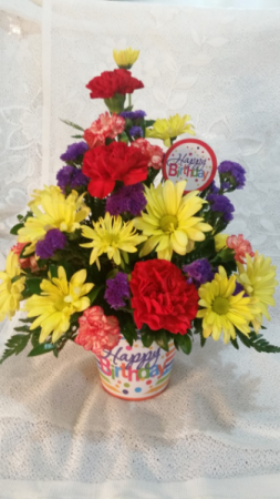 Birthday arrg with matching pick  in Clio, MI | WILLOW COTTAGE FLOWERS AND GIFTS